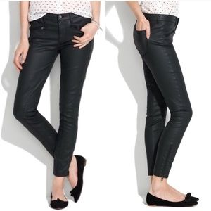 Madewell Black Wax Coated Moro Skinny Jeans